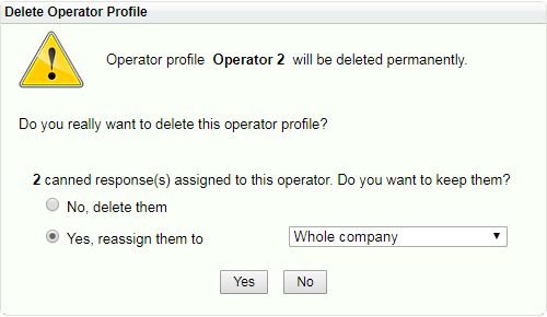 Reassign canned responses when deleting operator / department